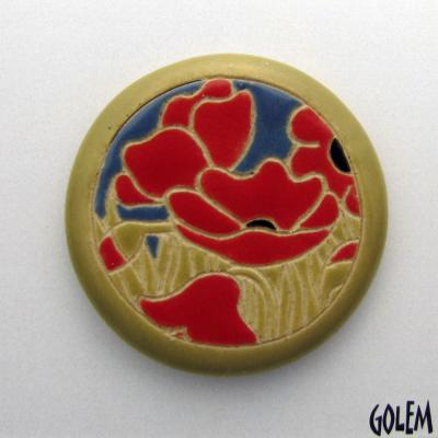 round cabochon, poppies